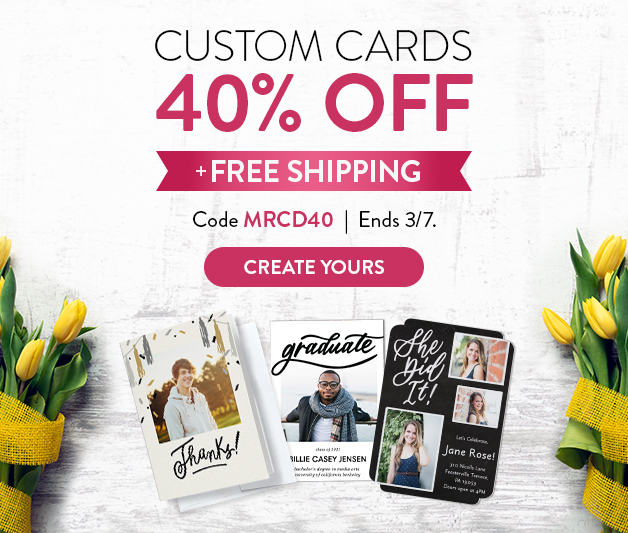 40% off Cards + FREE shipping