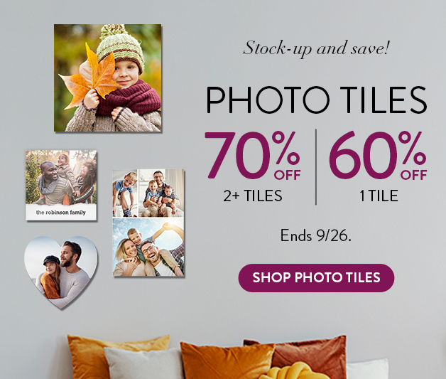 70% off 2 or more Photo Tiles