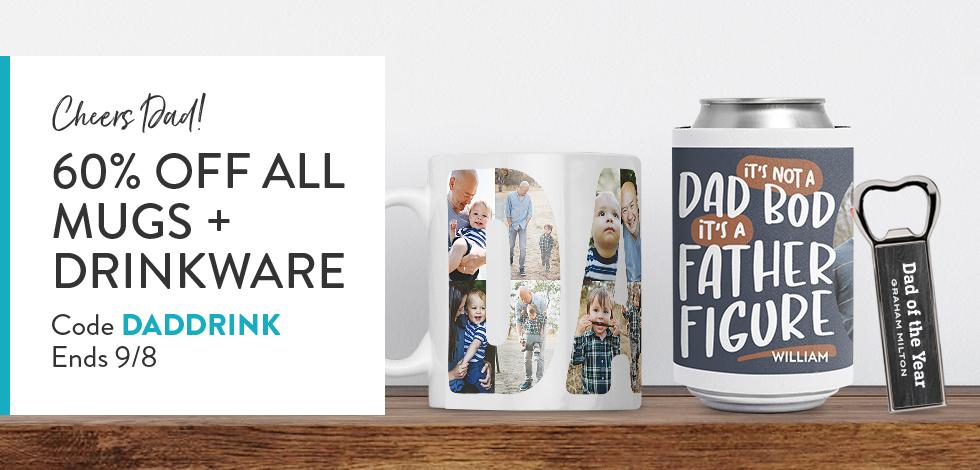 60% off all Mugs + Drinkware