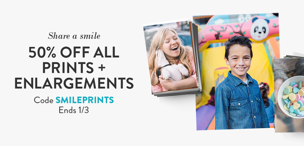 50% off all Prints + Enlargements