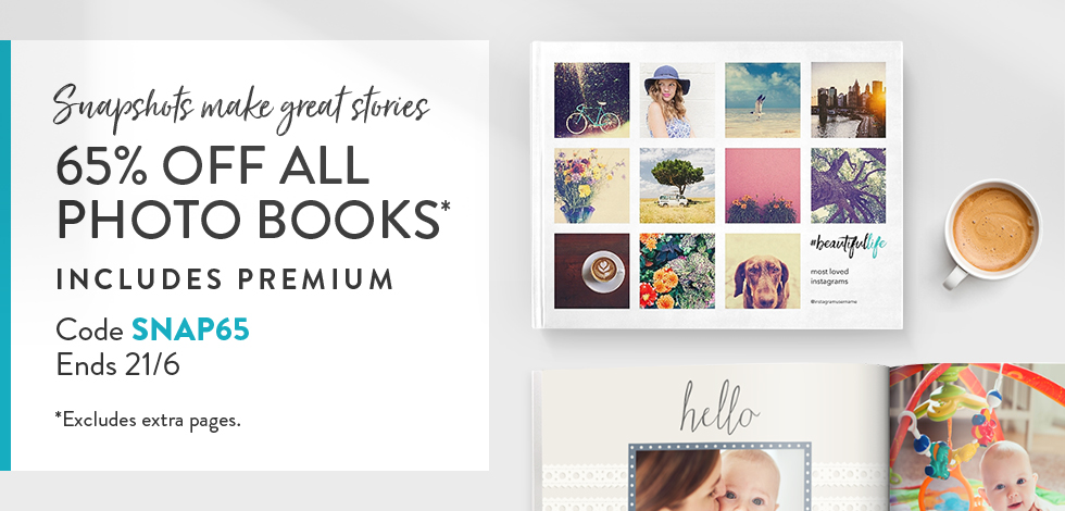 65% off Photo Books. *ex. extra pages