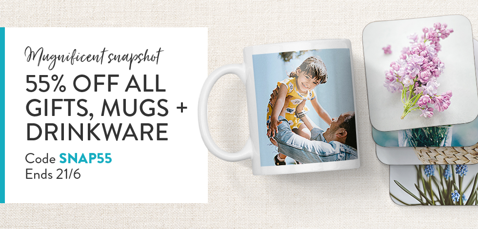55% off all Mugs, Drinkware + Gifts