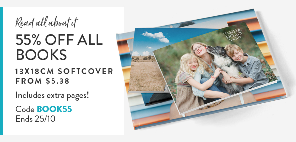 55% off all Photo Books - includes extra pages!